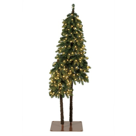 Home Heritage True Bark 3 Foot & 5 Foot Twin Christmas Trees with White Lights ()