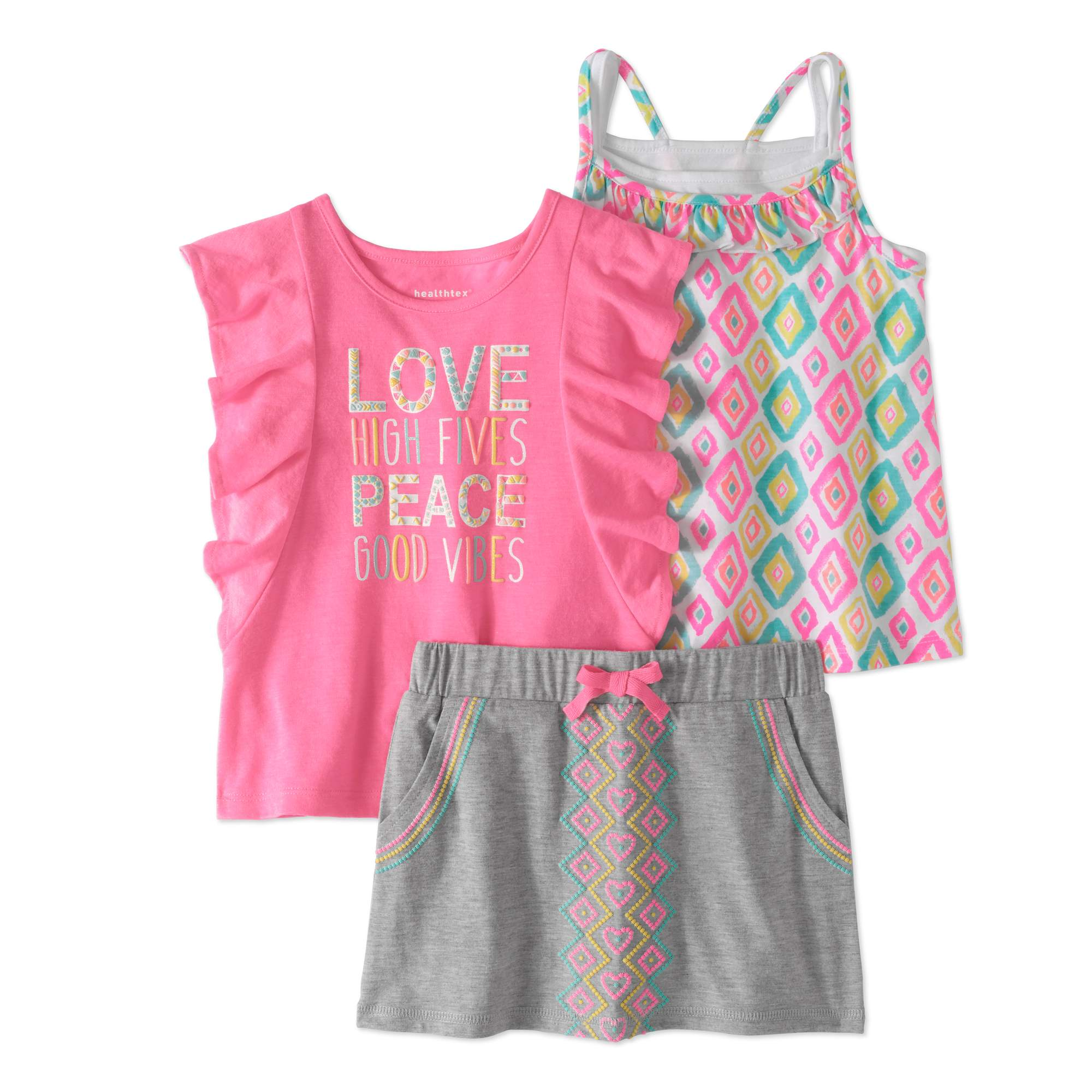 Healthtex Toddler Girl Flutter Sleeve Tank Top, Cross-Back Tank Top & Scooter Skirt, 3pc Outfit Set