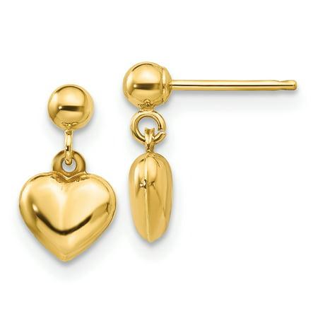 14K Yellow Gold Madi K Puffed Heart Dangle Earrings - image 2 de 2
