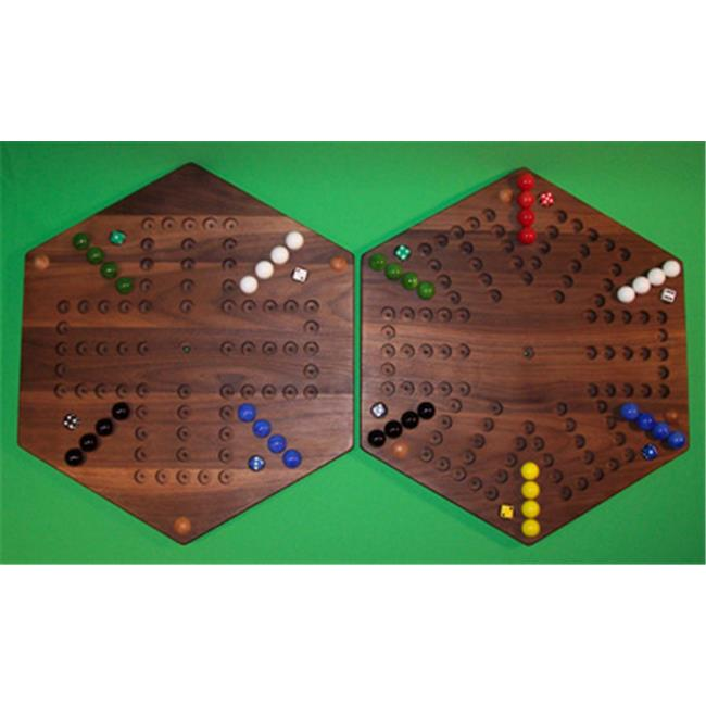 THE PUZZLE-MAN TOYS W-1968 Wooden Marble Game Board - (2 Games In 1) - 18 in. Hexagon - Aggravation 6-Player 5-Hole & 4-Player 5-Hole - Walnut