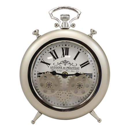 Ebros Antoine De Praiteau Steampunk Mechanical Moving Gears Old Fashioned European Vintage Pocket Watch Style Table Clock Victorian Industrial Accent Clockwork Clocks (Brushed Silver Champagne) ()