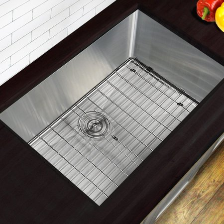 HIGHPOINT COLLECTION  30 Inch Professional Style Small Radius Stainless Steel Undermount Sink with Grid and Drain (Collection Stainless Steel Sink Grid)
