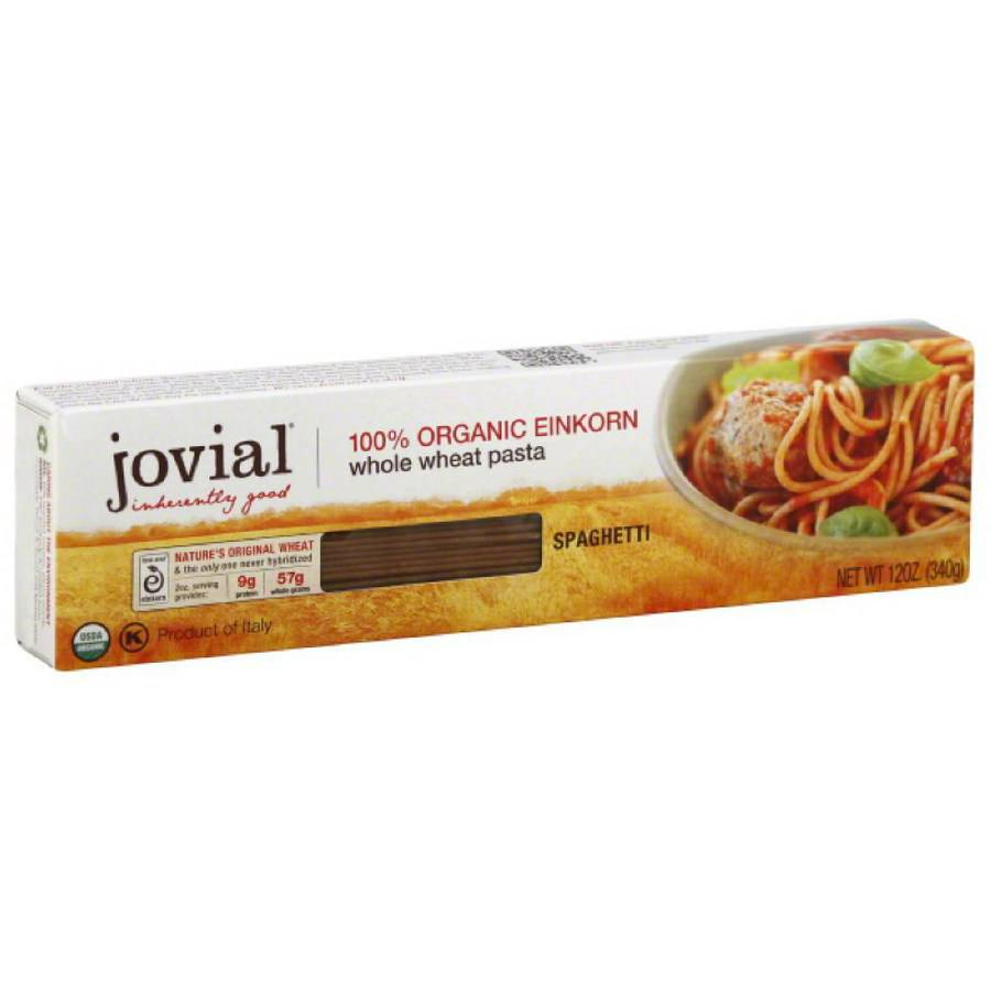 Jovial Whole Grain Einkorn Spaghetti Pasta, 12 oz, (Pack of 6)