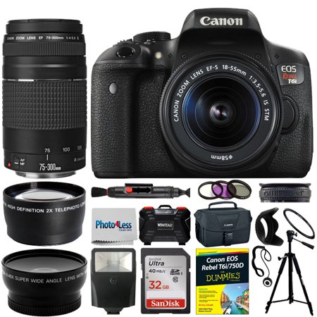 Canon EOS Rebel T6i Camera + 4 Lens Kit 18-55mm stm +75-300mm + All You Need Kit