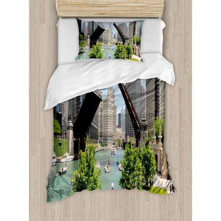 United States Twin Size Duvet Cover Set  Downtown Chicago Illinois Finance Business Center Lake Michigan Avenue Bridge  Decorative 2 Piece Bedding Set With 1 Pillow Sham  Multicolor  By Ambesonne