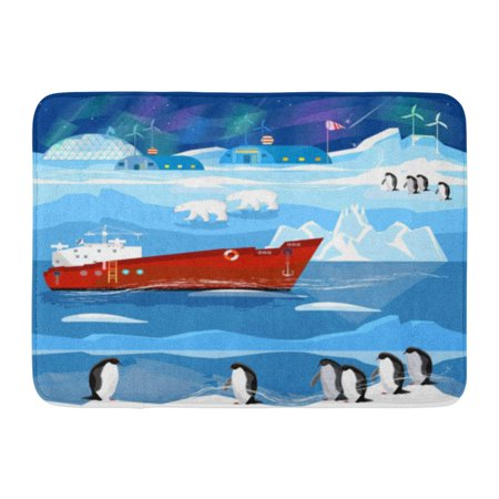 GODPOK Travel to Antarctic Arctic Ice Breaker Penguins Polar Lights Animals Antarctica Scientific Base Rug Doormat Bath Mat 23.6x15.7 inch (Arctic Polar Ice)
