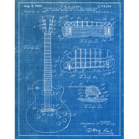 Original Gibson Guitar Artwork Submitted In 1955 - Music - Patent Art Print
