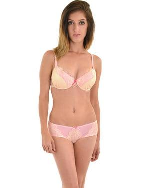 237646215f19 Free shipping. Product Image Womens Sophie Pink Cream Lace Push Up Bra Pale  Pink Boyshort 2 Piece Set