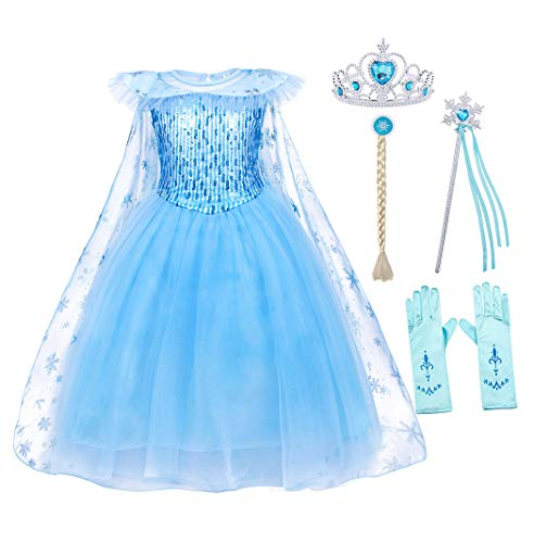 AmzBarley Princess Outfits for Girls Birthday Party Fancy Dress Up Christmas Costume Role Play with Princess Accessories