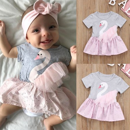 99d79fffd Canis - Newborn Baby Girl Short Sleeve Romper Top Lace Dot Dress Outfit  Clothes - Walmart.com