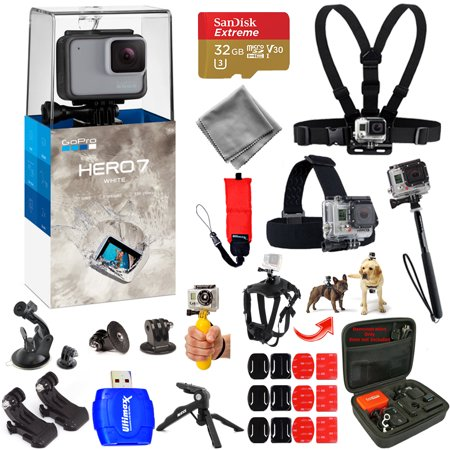 GoPro HERO7 HERO 7 White Action Camera Mega Pro ALL YOU NEED Accessory Bundle with 32GB Micro SD, Head and Chest Strap, Dog Harness, Medium Case + MUCH MORE
