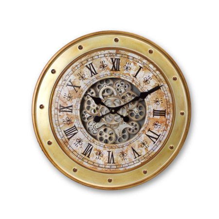 "24"" Brown and Gold Industrial Style Exposed Gear Decorative Wall Mounted Clock with Rivet Details"