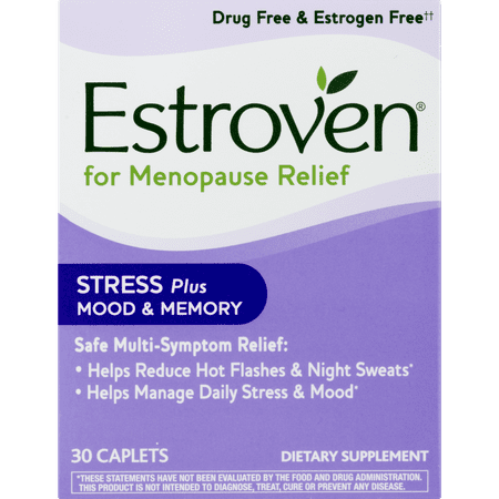 Estroven Menopause Relief with Stress + Mood & Memory Caplets, 30 ct