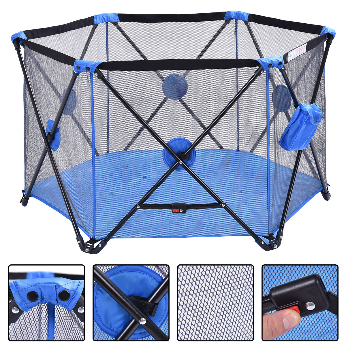 Costway Baby Play Pen Folding Infant Pop N' Play Portable Playard (Blue)