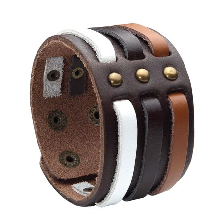 BodyJ4You Bracelet Genuine Leather Bangle Cuff Brown Wave