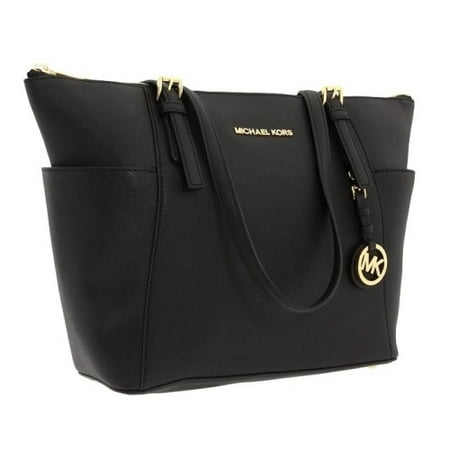 MICHAEL Michael Kors Jet Set Travel Med. Top Zip Saffiano Tote - Black - 30F2GTTT8L-001