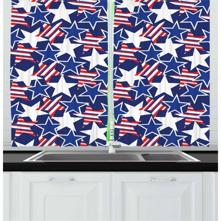 4th of July Curtains 2 Panels Set, Stars and Stripes of Liberty and Freedom Patriotic American Pattern, Window Drapes for Living Room Bedroom, 55W X 39L Inches, Royal Blue Red (Stars And Stripes)