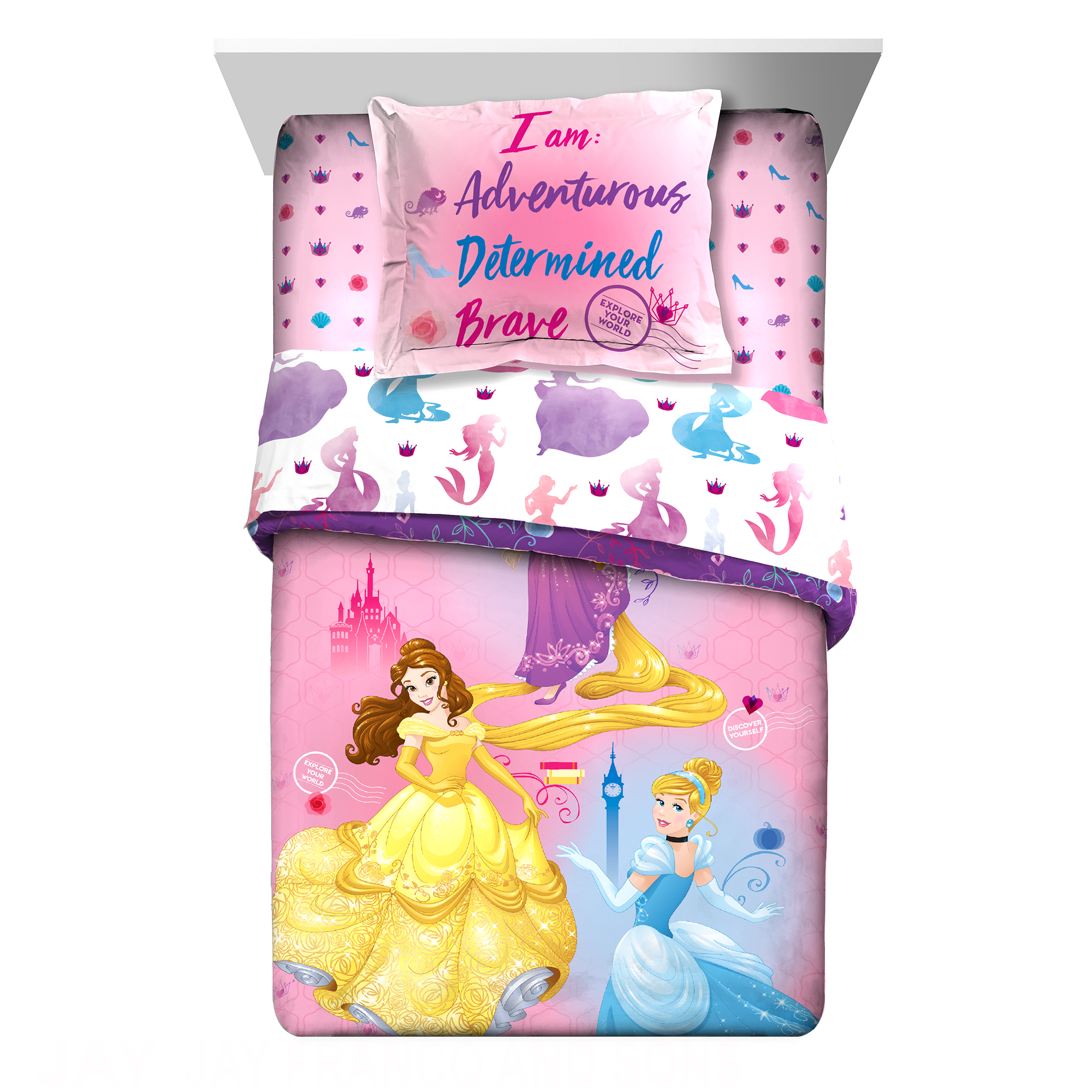 Disney Princess Ready to Explore Kids Bedding Twin & Full Comforter & Sham Set, 2 Piece