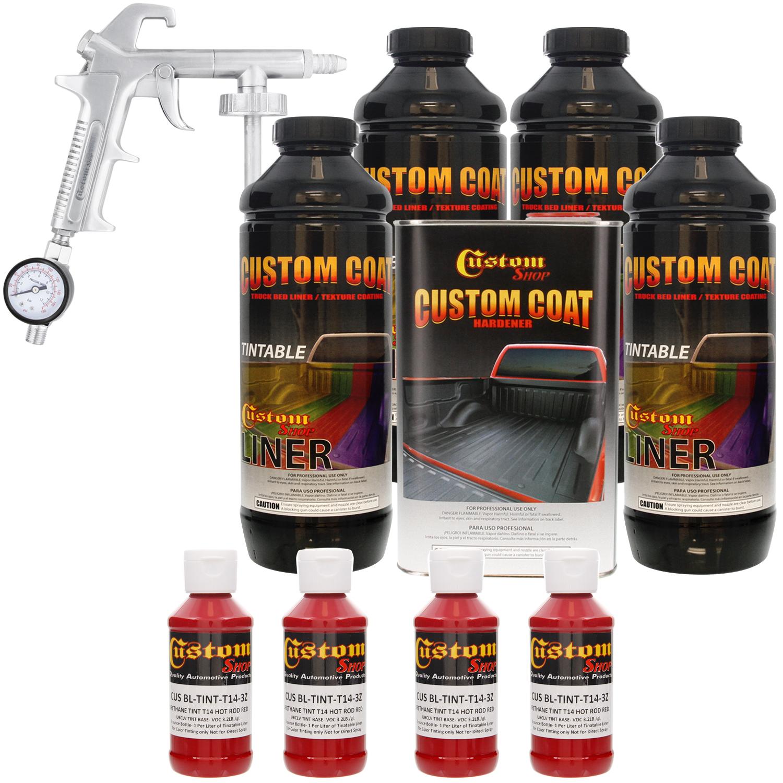 Bed Liner CUSTOM COAT HOT ROD RED 4-L Urethane Spray-On Truck Kit w/ Spray Gun