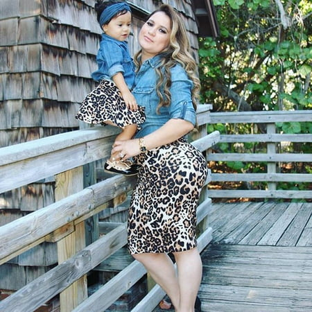 New Baby Kids Girls Mom Daughter Family Matching Outfits Denim T-shirts Blouse Tops+Leopard skirts Dress - Children Clothing Boutique