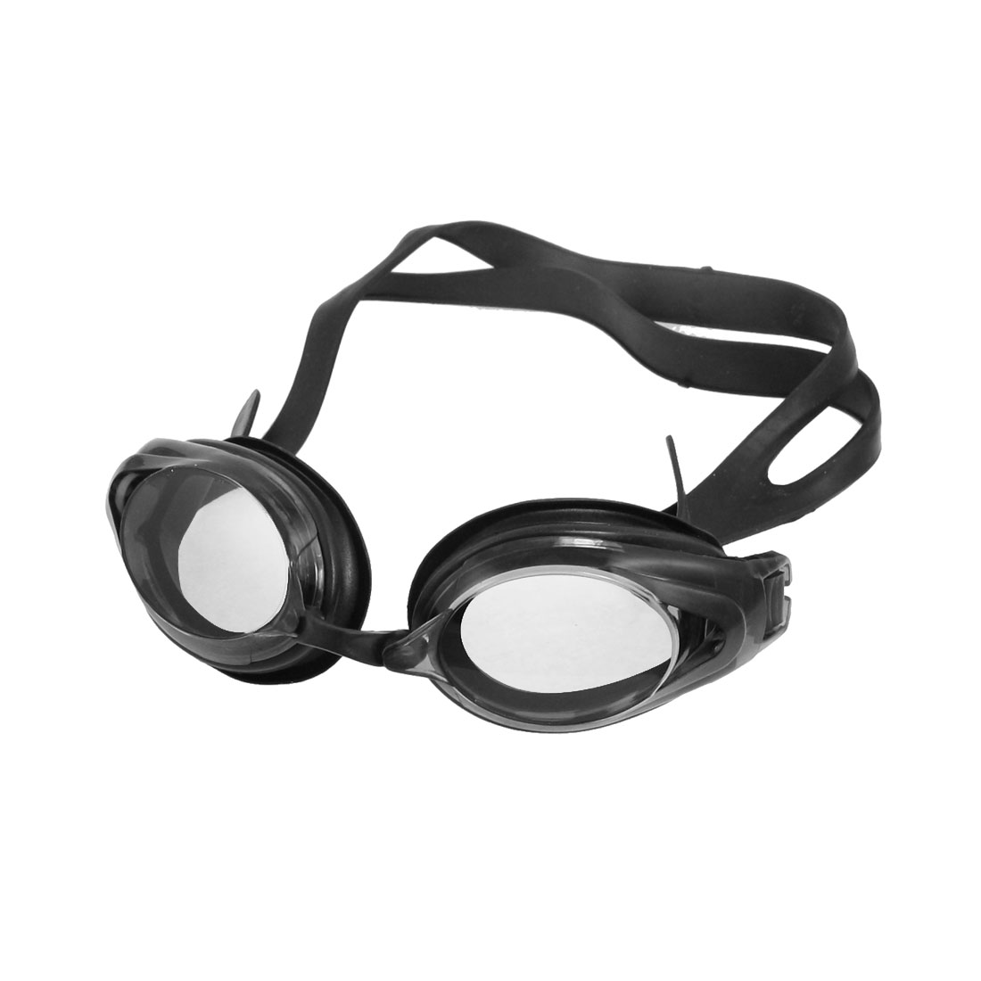 Unique Bargains Unisex Black Silicone Strap Swimming Goggles w Earplug + Nose Clips by