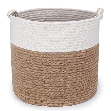 15 Inch Laundry Pedestal (Magicfly Cotton Rope Woven Storage Baskets, 15 X 15 X 14 Inch Large Baby Nursery Organizer for Laundry, Toys and Baby Blankets in Baby Nursery or Kids Room, Beige & White )