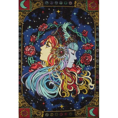 Sister Tapestry - 3-D Celestial Sisters Tapestry Cotton Wall Hanging 90