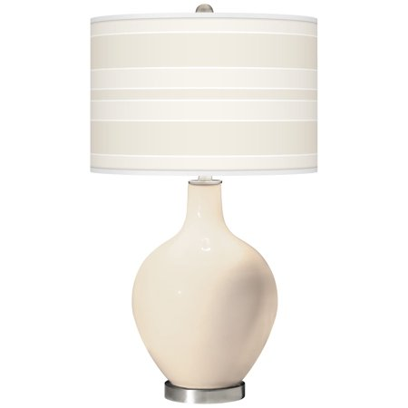 Color + Plus Steamed Milk Bold Stripe Ovo Glass Table Lamp