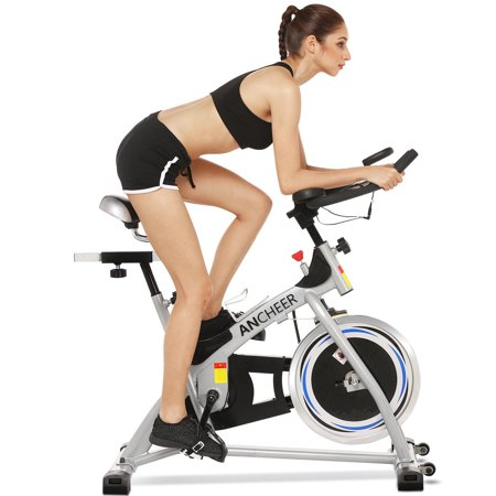 A NCHEER Stationary Bike, 40 lbs Flywheel Indoor Cycling Exercise Bike with Heart Rate Sensor ,Quiet Smooth Belt Drive System, Adjustable Seat & Handlebars &