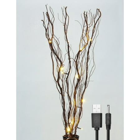 Lightshare Lighted Branches, Natural Twig Vase Filler, 36 inches, 16 LED Light Bulbs, Natural Brown, Battery Operated and Optional USB Plug-in - Led Batteries