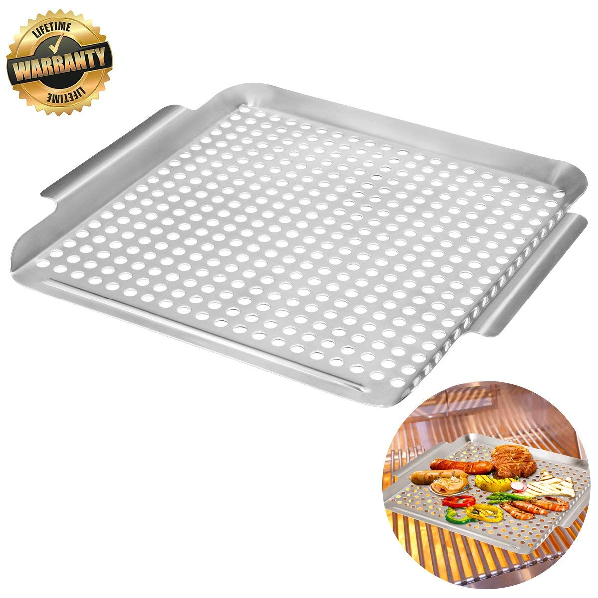 Grill Pan Stainless Steel Grill Topper Heavy Duty Bbq Grill Wok With Handles Vegetables Grill Basket Outdoor Grill Accessories Cookware Grill Utensils For Barbecue Cooking Walmart Com Walmart Com