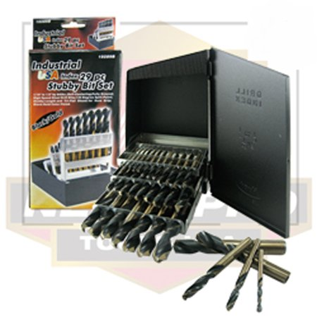 Pro 29 Piece Industrial Stubby Power Drill Bit Tool Set Usa Drilling Tri Flat