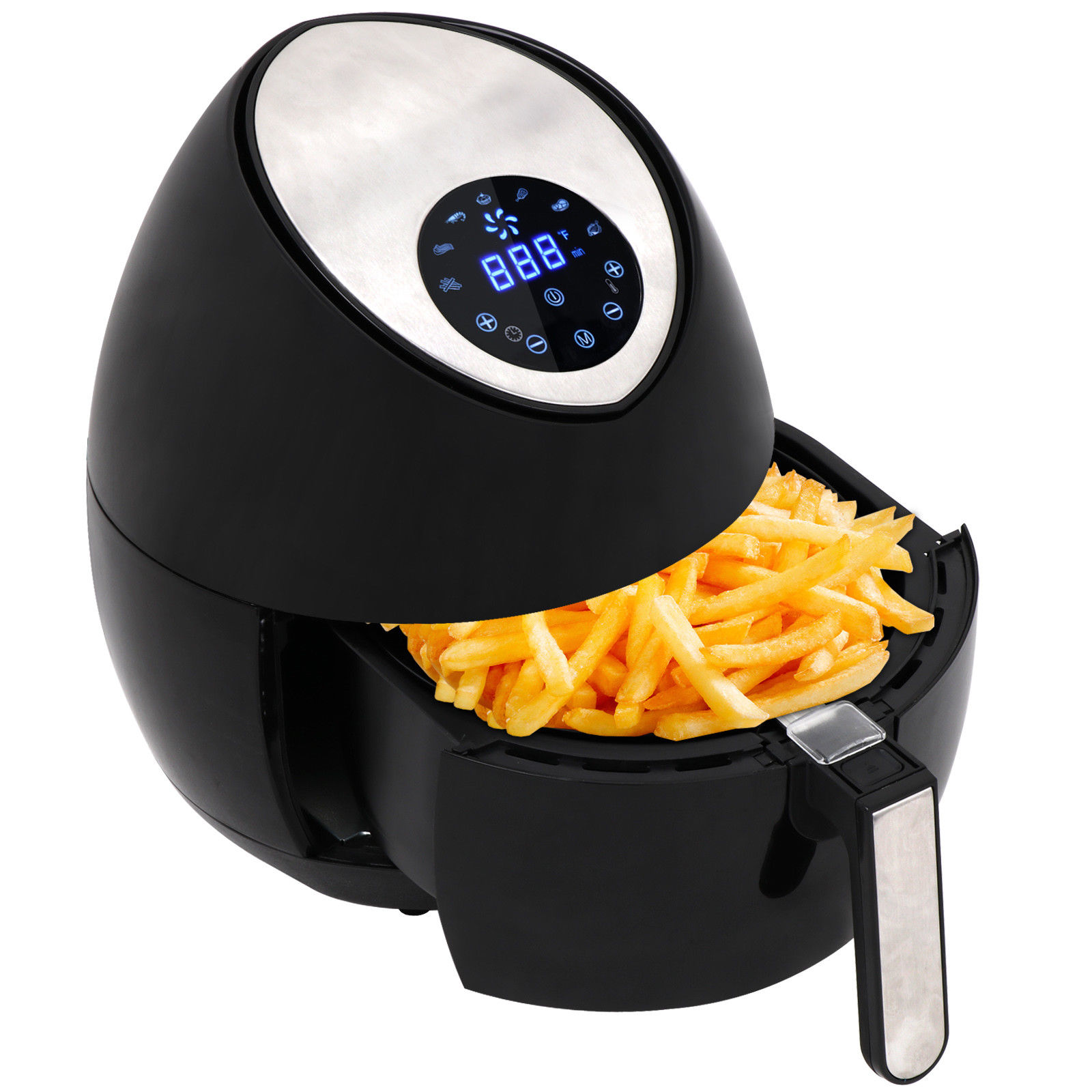 Zeny Electric LCD Air Fryer 4.2 QT w/ Touch Screen & Removable Basket 1500W - Black