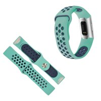 Mignova Fitbit Charge 3 / Charge 3 SE Watch Bands, Soft Silicone Replacement Sport Watch Wrist Band Strap for Fitbit Charge 3 / Charge 3 SE Fitness Tracker(115mm-Aqua/Blue)