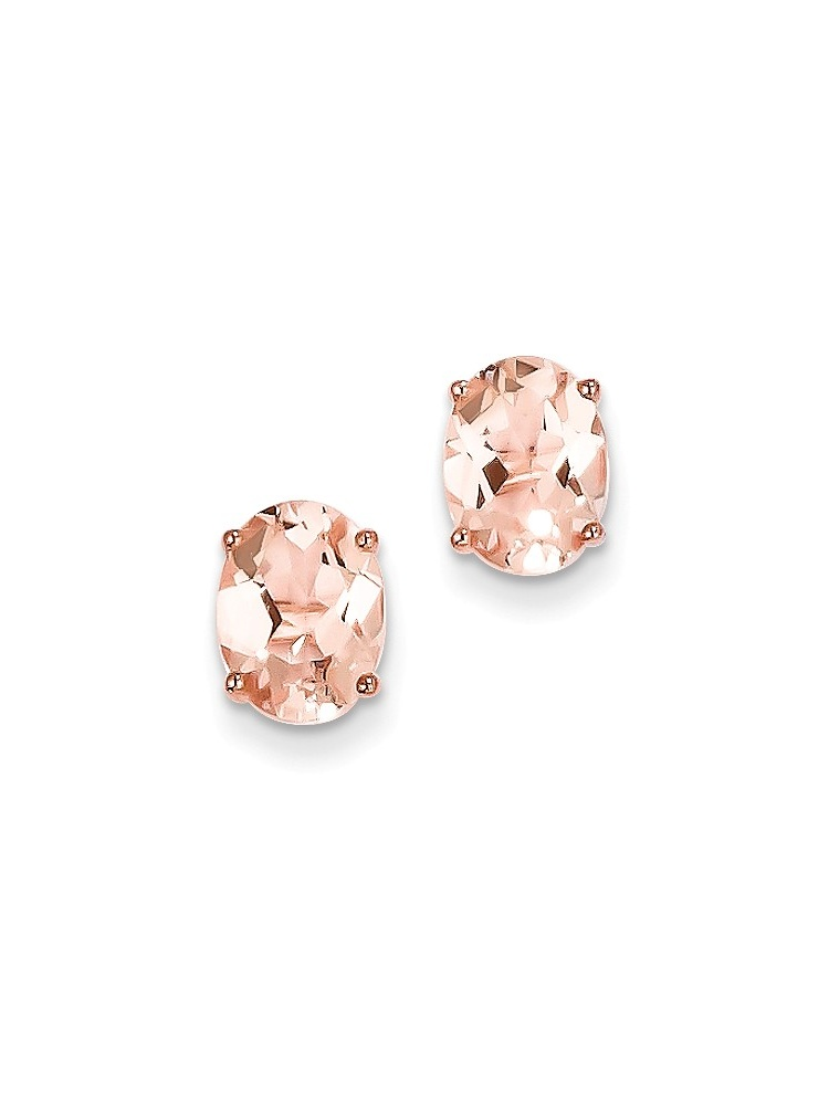 ICE CARATS 14kt Rose Gold Pink Morganite Post Stud Ball Button Earrings Fine Jewelry Ideal Gifts For Women Gift Set From... by IceCarats Designer Jewelry Gift USA