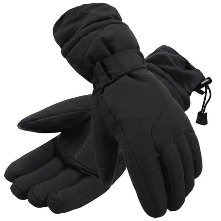 Simplicity Womens Waterproof 3M Thinsulate Winter Ski Gloves Black Solid M