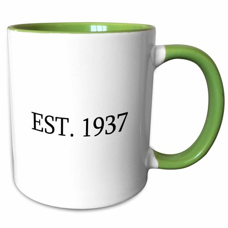 3dRose Est. 1937 - Established in 1937 - Personal birth year. Personalized year you were born - black text - Two Tone Green Mug, 11-ounce
