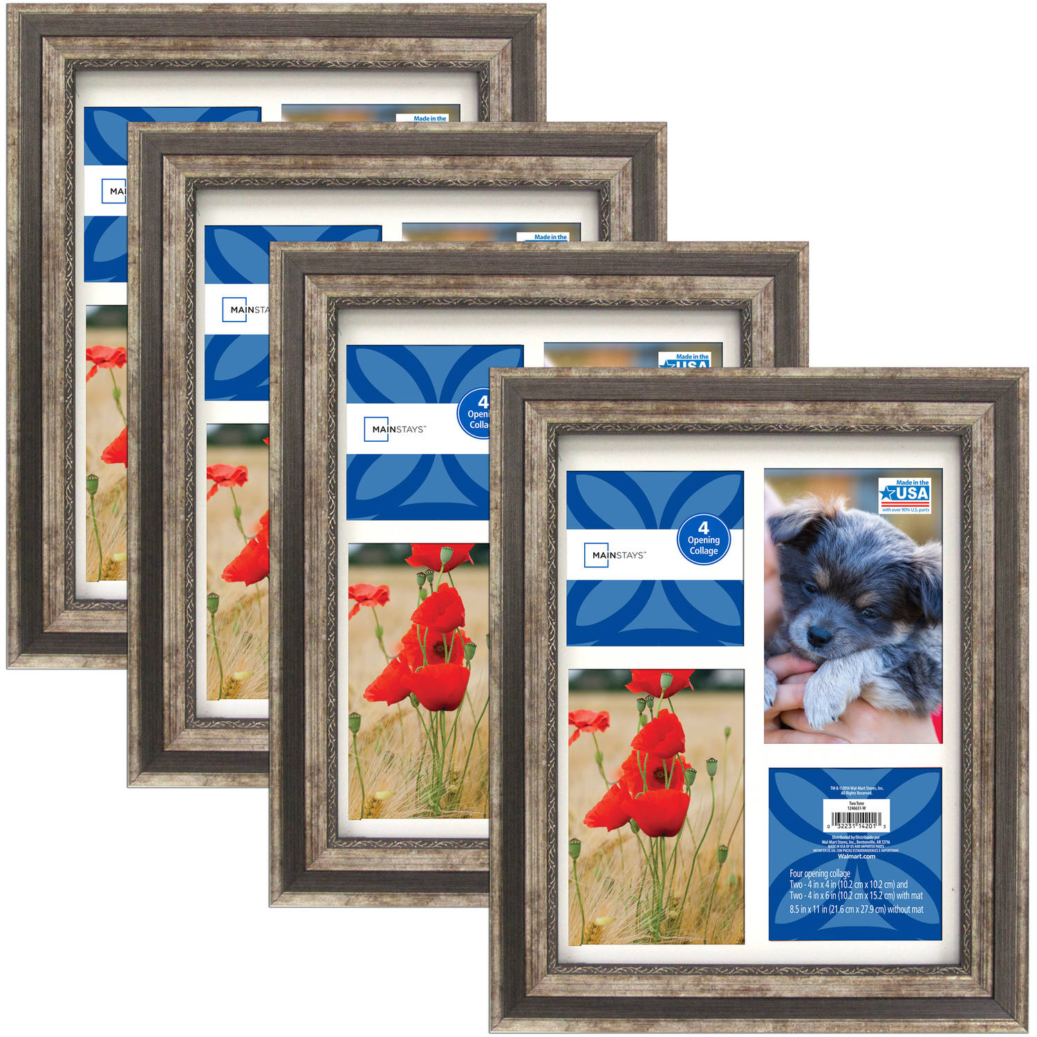 4 PACK 8.5x11 Picture Frame Set stands for display wall Wide frames ...