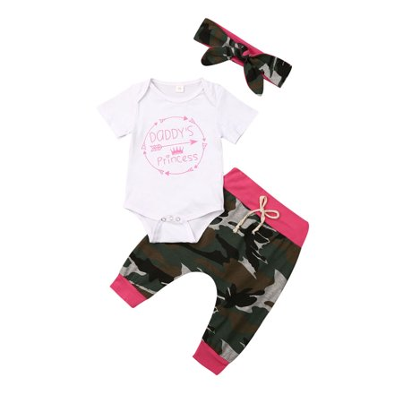 0-18M Infant Baby Girl Boy Clothes Matching Romper + Camouflage Pants Outfits 3 Pcs Sets thumbnail