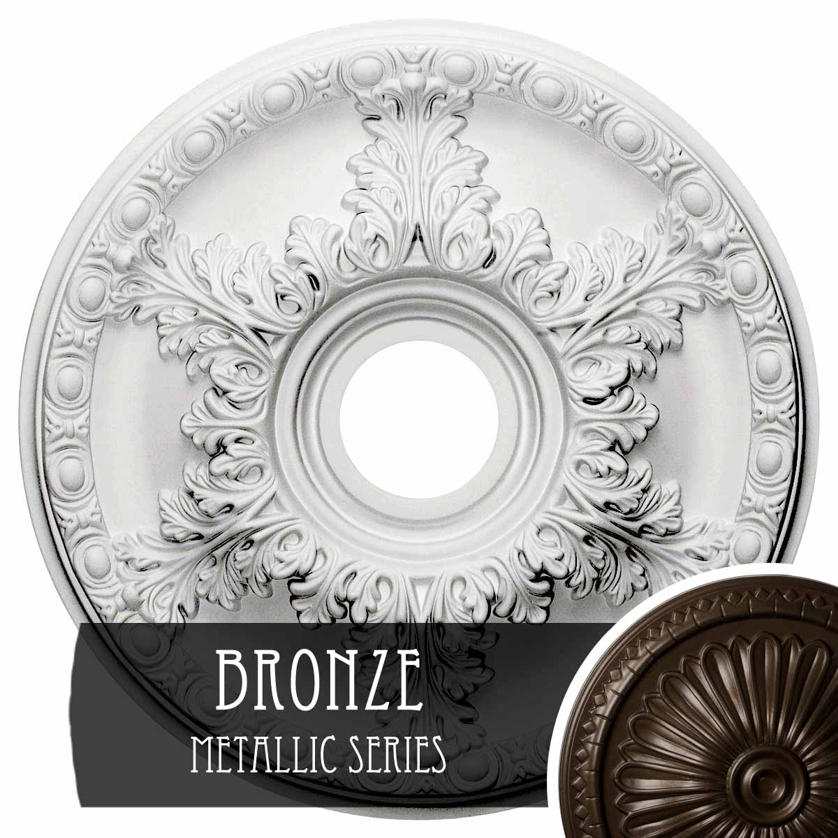 """18""""OD x 3 1/2""""ID x 2 1/2""""P Granada Ceiling Medallion (Fits Canopies up to 6 5/8"""")"""