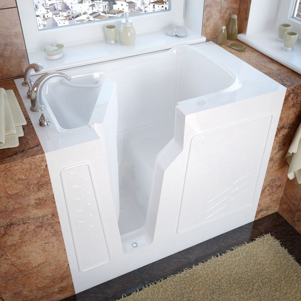 Meditub 26x46 Left Drain White Soaking Walk-In Bathtub