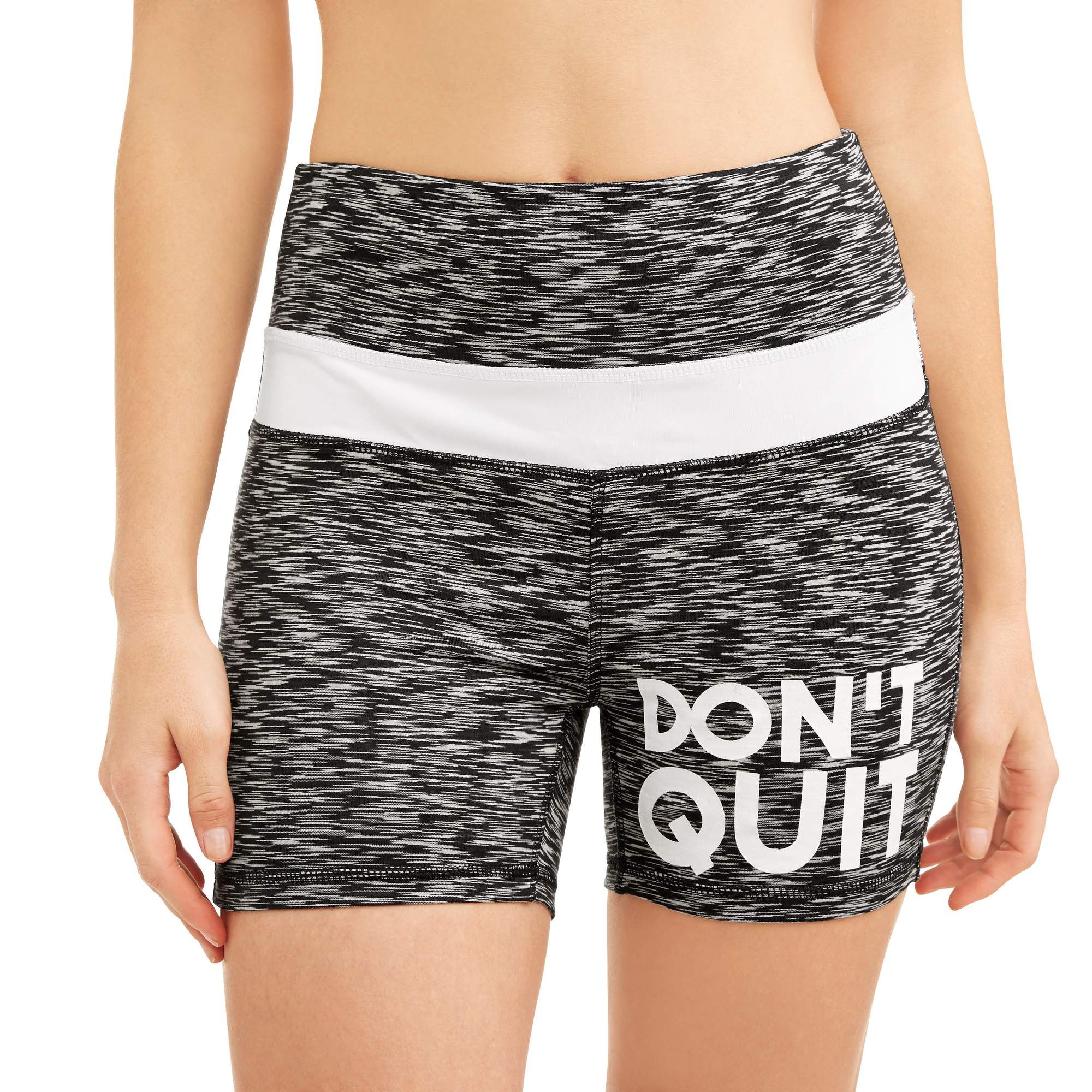 Women's Active Graphic Fitspiration 'Don't Quit' Performance Bike Shorts