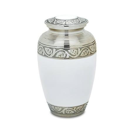Urnsdirect2U Grecian White Adult Cremation Urn, 220 Cu In