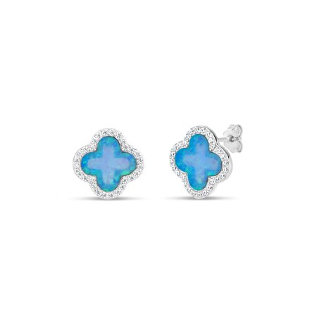 Created Light Blue Opal and CZ Sterling Silver Rhodium-Plated Flower Stud Earrings