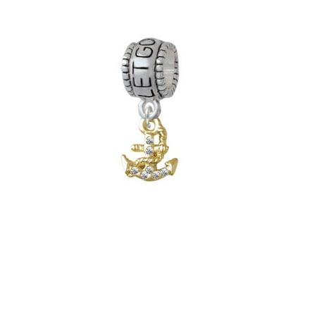 Gold Tone Mini Crystal Anchor   Let Go Let God Charm Bead