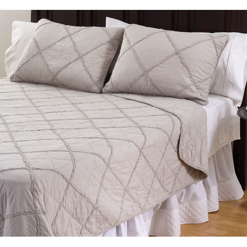 Saro Devon Cotton 3 Piece Queen Quilt Set