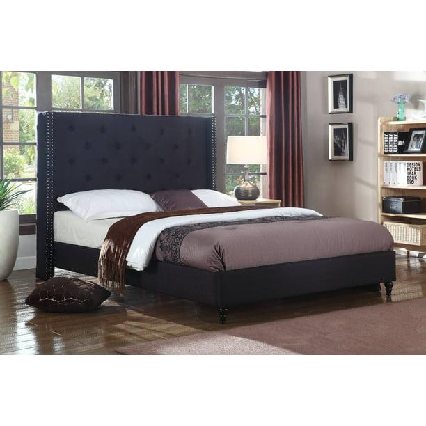 Best Master Furniture Veronica Tufted Wingback Platform Bed Black, King