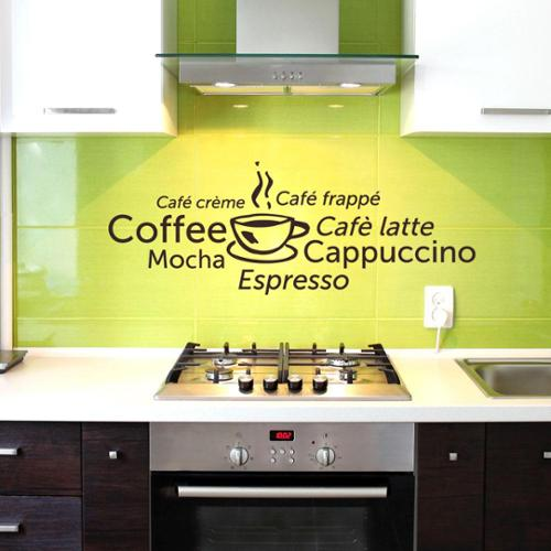 Coffee World Vinyl Mural Wall Decal Sage 79in x 29in