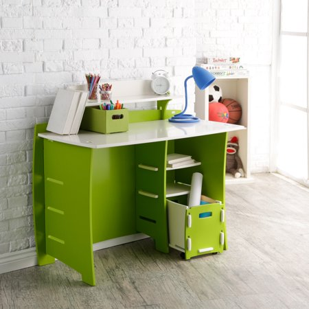 Legaré Kids Furniture Frog Series Collection, No Tools Assembly 43-Inch Complete Desk System with File Cart, Lime Green and White ()