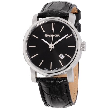 Wenger Urban Vintage Black Dial Leather Strap Men